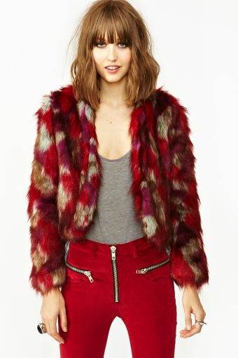 Patched Faux Fur Coat  in  Lookbooks Monochrome Madness at Nasty Gal