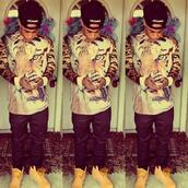 shirt,timberlands,tiger,tiger face,black pants,snapback,guys,girl,hat,urban menswear,menswear