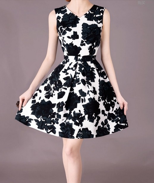 2014 V-neck Spring Women OL Dress Black and White lml7001 - ott-123 - Global Online Shopping for Dresses