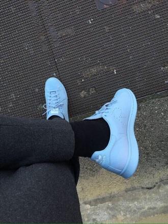 shoes adidas r light blue shoes stan smith addias shoes baby blue blue sneakers adidas adidas shoes raf simons
