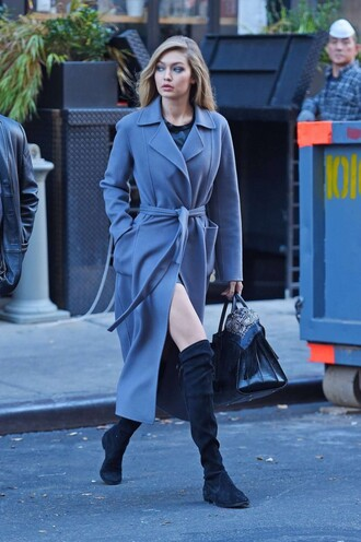 coat boots gigi hadid fall outfits shoes