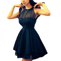 Online Shop Fashion Irregular Large Peplum Grenadine Stitching Slim sleeveless Chiffon Dress Sexy Halter Dress Summer 2014 Newly Style|Aliexpress Mobile