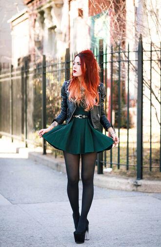 dress black dress luanna perez grunge black leather green dress mini dress tumblr little black dress leather jacket tumblr outfit tumblr dress jacket