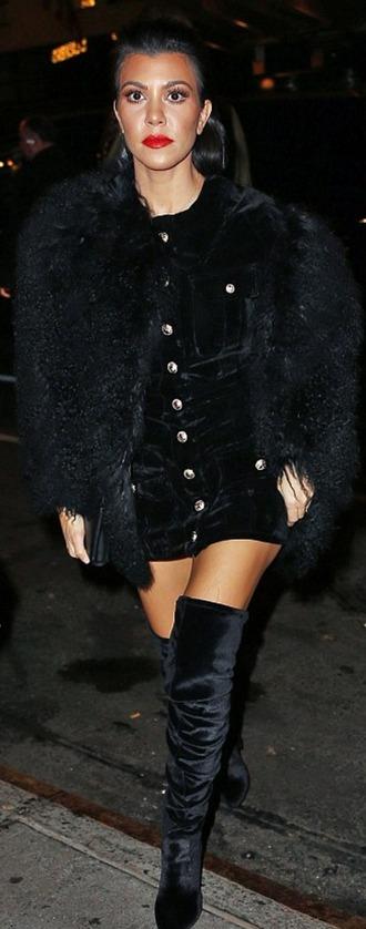 dress mini dress kourtney kardashian fashion week 2016 boots over the knee boots all black everything velvet dress velvet ny fashion week 2016