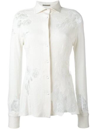 shirt women lace white silk top