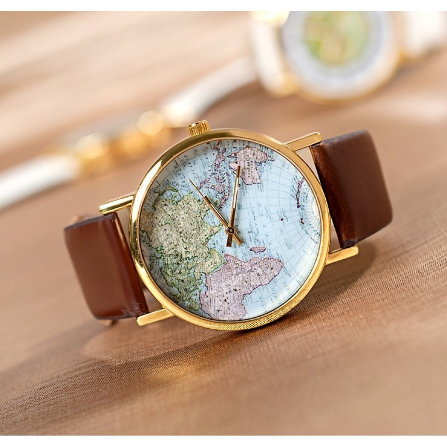 Retro unisex world map brown strap watch