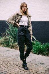 jacket,tumblr,grey jacket,fur jacket,top,white top,pants,black pants,boots,black boots,ankle boots,belt