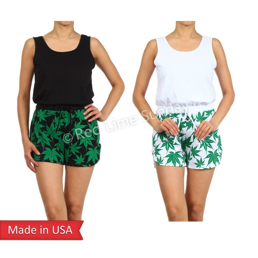 Women Hemp Green Cannabis Marijuana Weed Pot Print Tank Short Pants Romper USA