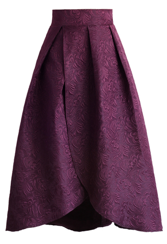 skirt tulip fairy embossed midi skirt in plum chicwish