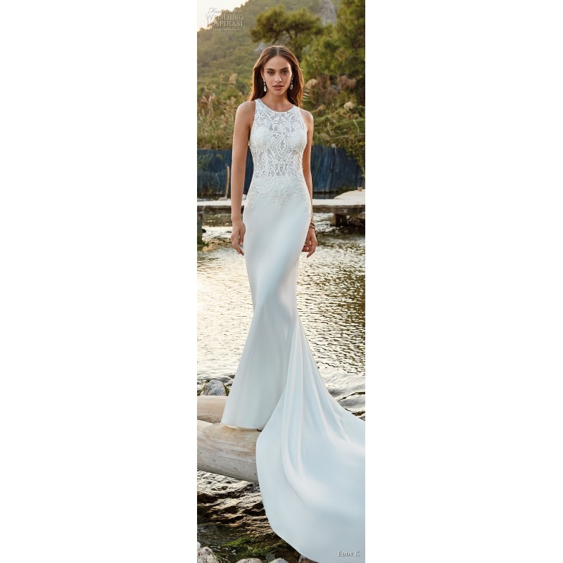 Eddy K. 2019 Lace Elegant Chapel Train Ivory Embroidery Covered Button Scoop Neck Fit & Flare Spring Sleeveless Wedding Gown - Bridesmaid Dress Online Shop