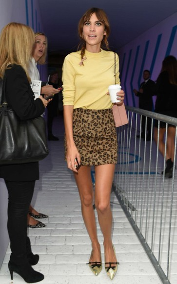 leopard print skirt fashion week 2014 alexa chung mini skirt