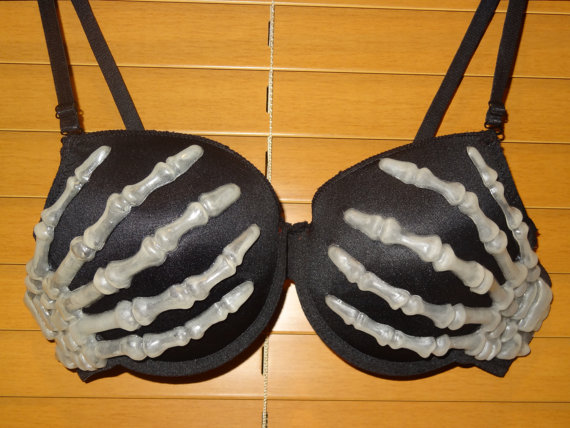 Skeleton Hands Bra.  Glow  in the dark. by dressstar on Etsy