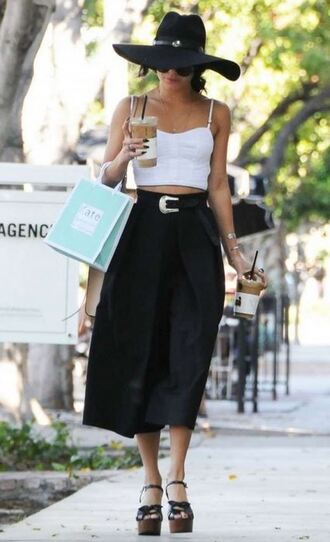 pants top wide-leg pants vanessa hudgens crop tops sandals platform sandals shoes hat ifchic belt