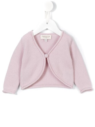 cardigan girl cropped toddler purple pink sweater