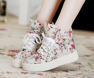 shoes floral sneakers flowers pattern white pink white shoes pink shoes