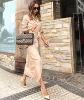 shoes,pumps,high heel pumps,midi dress,long sleeve dress,button up,belted dress,handbag,sunglasses