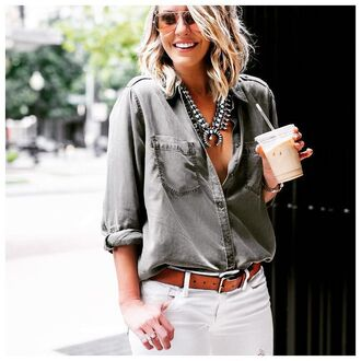 shirt grey shirt statement necklace button up