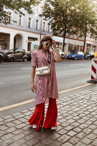 the fashion fraction blogger top shoes jewels shirt tumblr red shirt stripes striped shirt pants red pants flare pants bag white bag sunglasses
