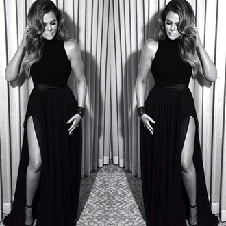 dress black dress prom dress black long prom dress long dress khloe kardashian khloe kardashian black slit dress