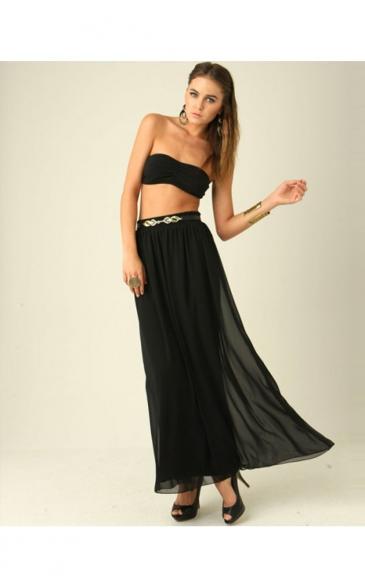 Tonia chiffon maxi skirt in black
