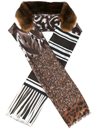 fancy fur women scarf silk brown