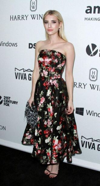 dress floral dress flowers floral emma roberts strapless gown prom dress sandals clutch bag
