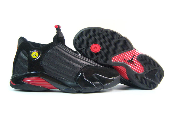Leather and Suede Jordan Retro 14 Hot On Sale With Red and Black Color