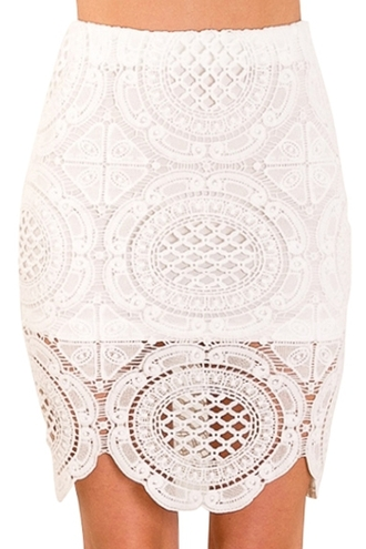 skirt lace crochet hollow cut-out bodycon skirt dress bottoms clothes white sexy cute beautiful fashion girly outfit zaful summer floral