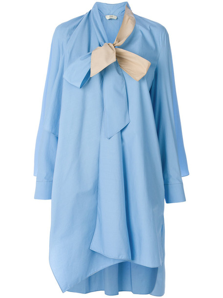 Fendi dress shirt dress women plastic cotton blue