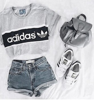 shorts grey denim shorts high waisted shorts backpack white sneakers adidas grey top adidas shoes cropped silver t-shirt graphic tee tumblr grey t-shirt grey sweater pants bag denim shirt white adidas shirt adidas originals cute