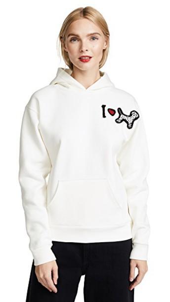 sweatshirt dog love white sweater