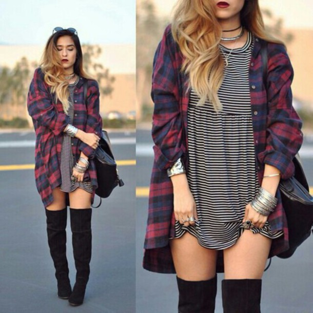 blouse flannel red blue shirt dress shirt jacket