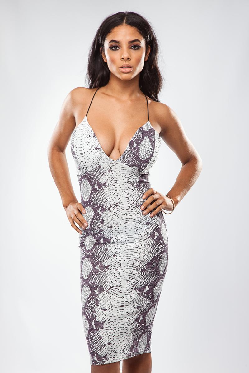 Sam Snakeskin V Front Midi Dress at misspap.co.uk