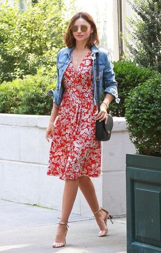 shoes sandals sandal heels miranda kerr midi dress jacket denim jacket summer outfits summer dress