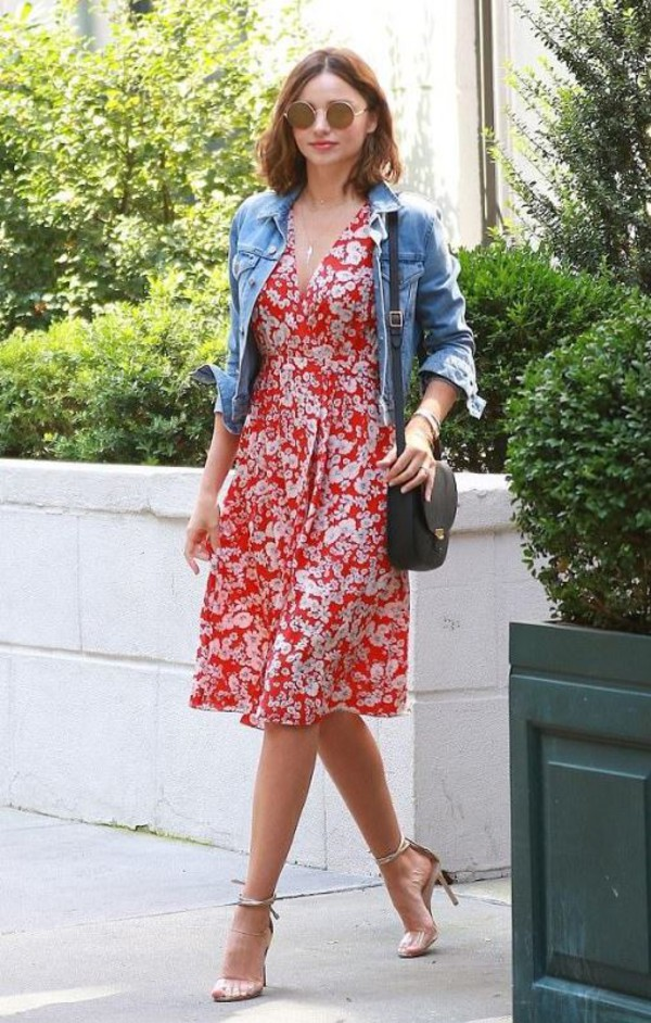 061beff89db shoes sandals sandal heels miranda kerr midi dress jacket denim jacket  summer outfits summer dress.