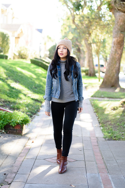 the fancy pants report blogger pom pom beanie grey sweater denim jacket