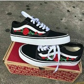 shoes,rose patches,floral vans,vans,black,roses,rose vans,printed vans,black vans roses,black vans