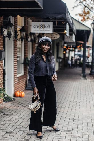 millennielle blogger shirt pants bag hat fall outfits velvet pants silk blouse