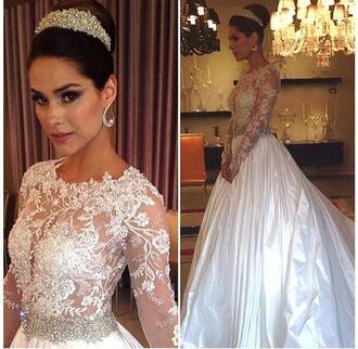 dress long sleeves beaded top satin a line wedding dresses lace dress bridal gown