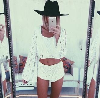 top shorts blouse lace white lace shirt long sleeves long sleeve crop top crop tops lace top white lace top