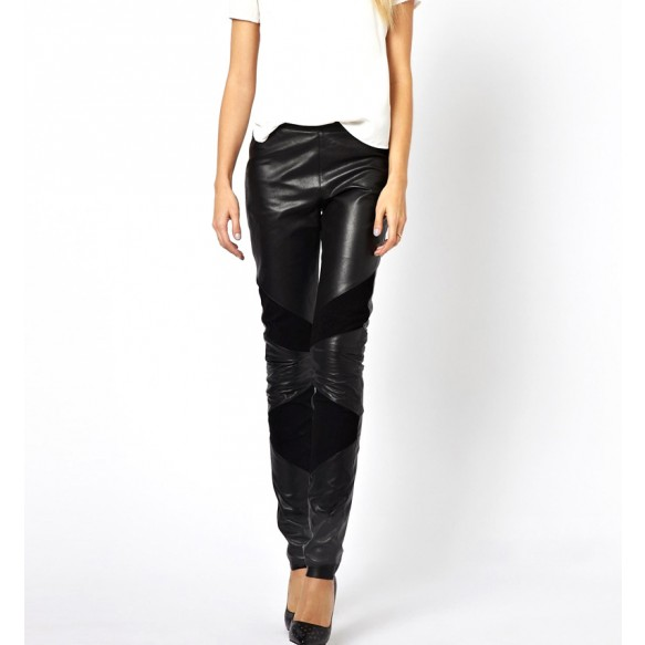 Leather Look Leggings With Biker Detail at Style Moi
