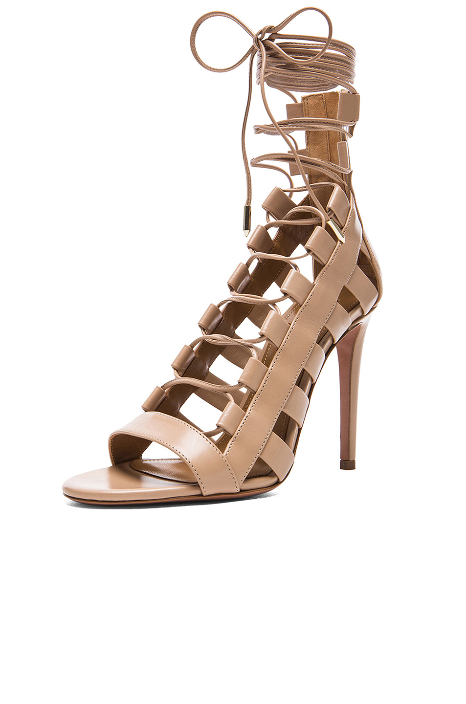 b6419484480af Aquazzura Amazon Leather Heels in Nude