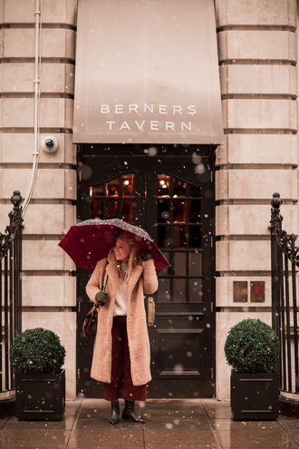 british fashion blog - mediamarmalade blogger shoes coat winter outfits red pants winter coat boots