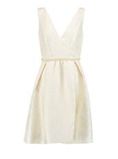 dress,beige,beige mini dress,mini dress,jacquard,jacquard dress,jacquard mini dress,self portrait,v neck dress