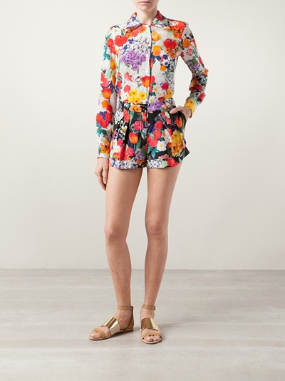 Moschino Stretch Canvas Floral Short - Forty Five Ten - Farfetch.com