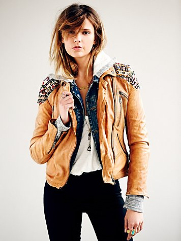 Free people  embellished classic biker jacket at free people clothing boutique
