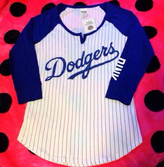 Victoria's secret pink mlb dodgers baseball tee bring it home medium nwt