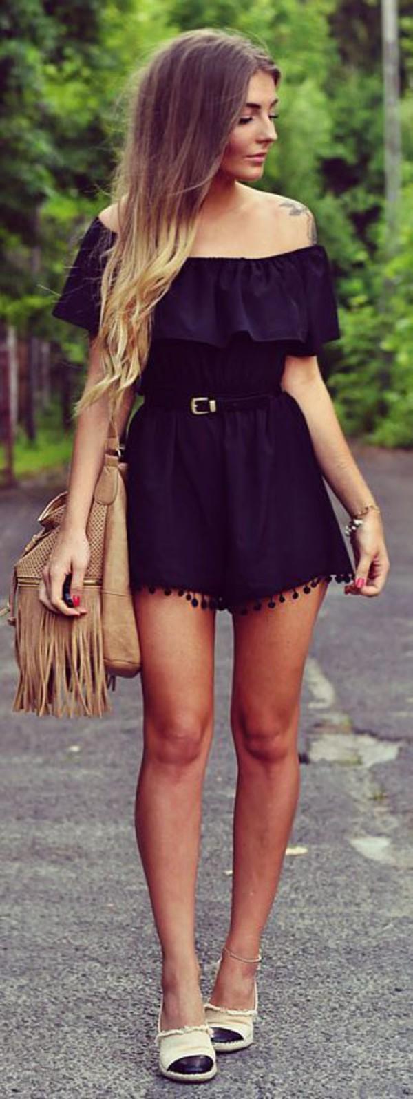 Black dress we heart it - Jumpsuit Black Picture From We Heart It Weheartit Romper Belt Boho Dress Off The Shoulder Wheretoget
