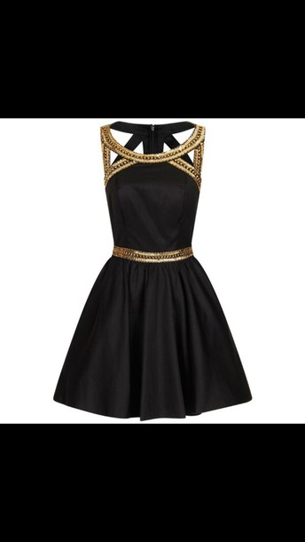 dress black dress gold strap