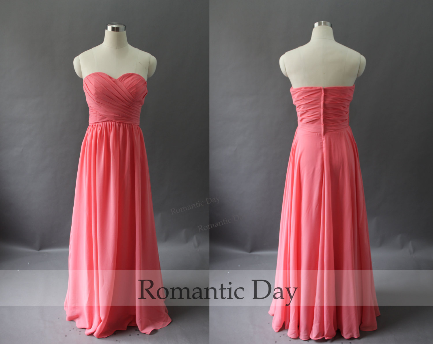 2014 Best Selling Coral sweetheart A-Line Long Chiffon Bridesmaid ...